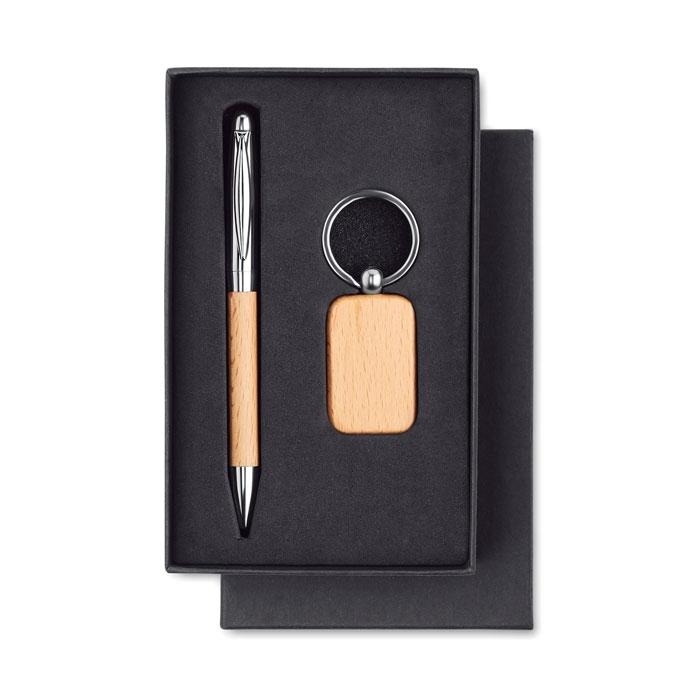 Immagine di MO9775 PEN & RING - Set penna e p.chiavi in legno
